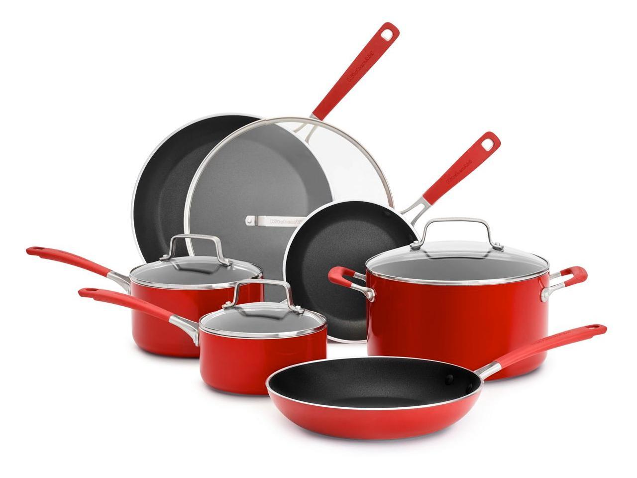 KitchenAid Aluminum Nonstick 10-Piece Cookware Set Red KC2AS10QER