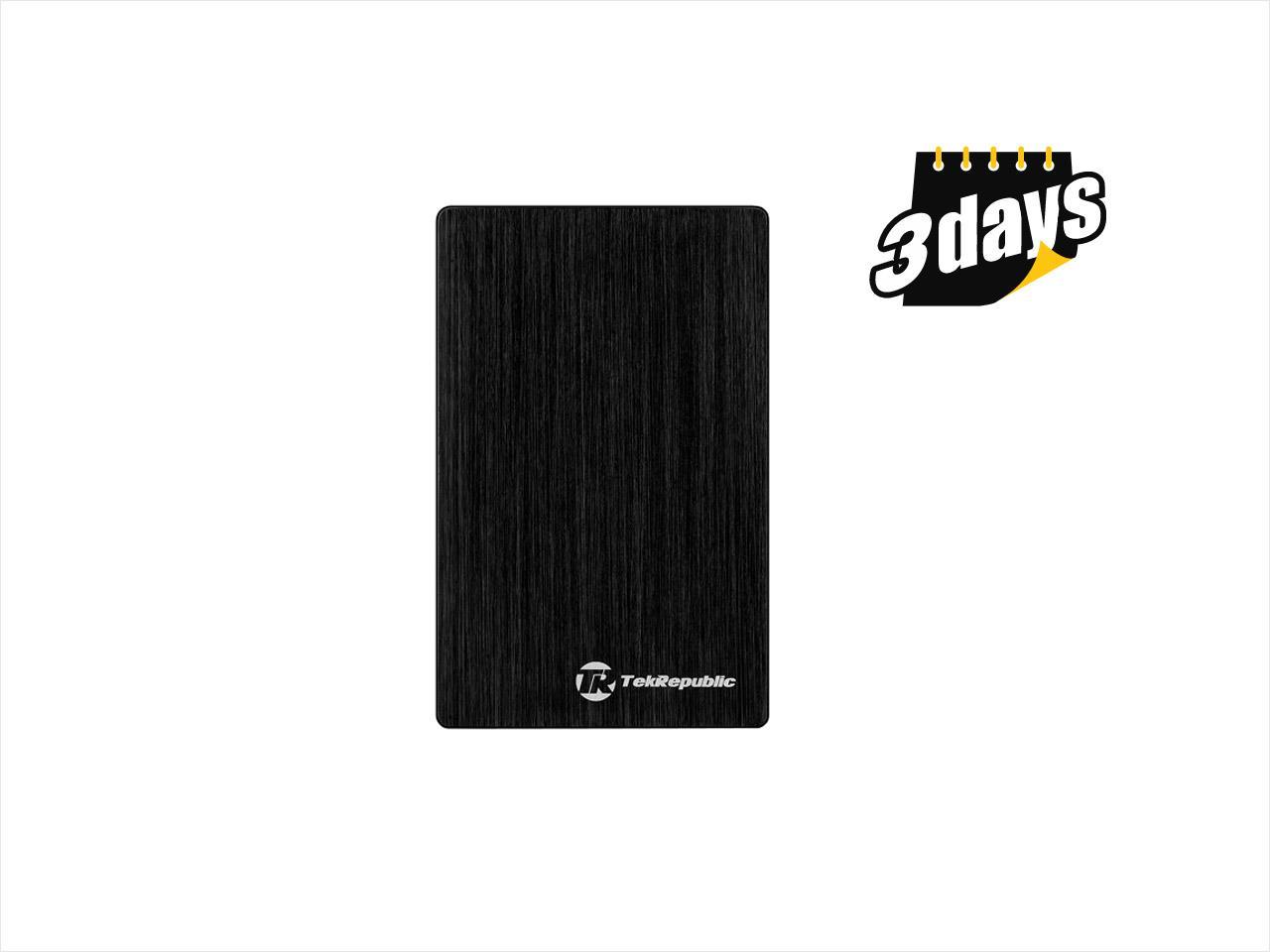 "Tek Republic TUE-300 Aluminum Brash 2.5"" Black USB 3.0 Hard Drive External Enclosure for 9.5mm 7mm HDD and SSD (Optimized for SSD, Support UASP)"