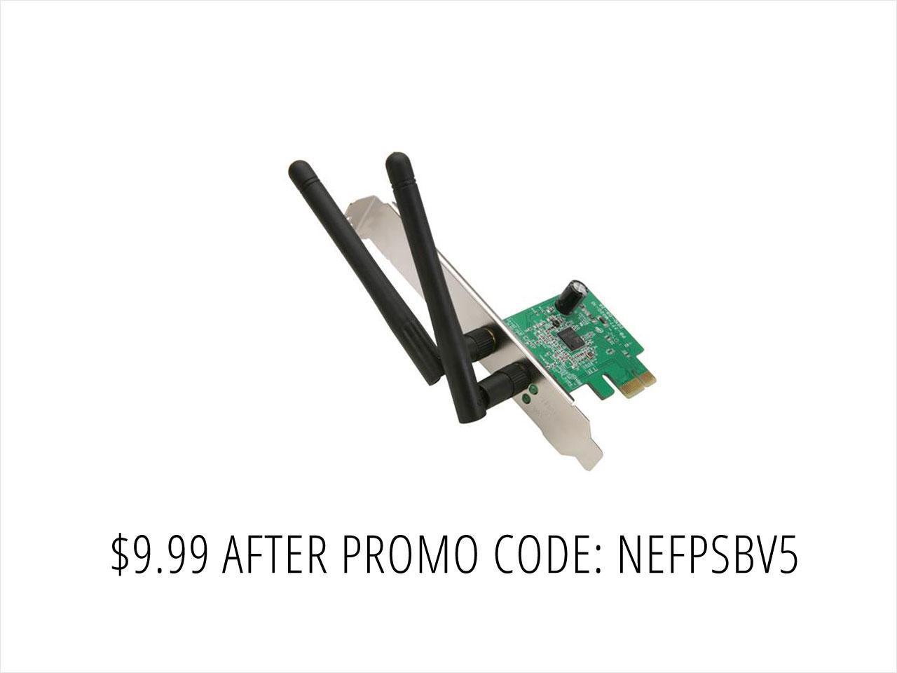NETIS WF2113 300Mbps Wireless N PCI-E Adapter with 5 dBi High Gain Antennas and Low Profile Bracket Compatible with Windows MAC Linux OS