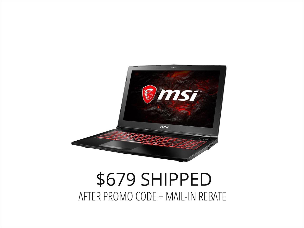 "MSI GL62M 7RDX-NE1050i7 15.6"" Intel Core i7 7th Gen 7700HQ (2.80 GHz) NVIDIA GeForce GTX 1050 8 GB Memory 128 GB NVMe SSD 1 TB HDD Windows 10 Home 64-Bit Gaming Laptop -- ONLY @ NEWEGG"