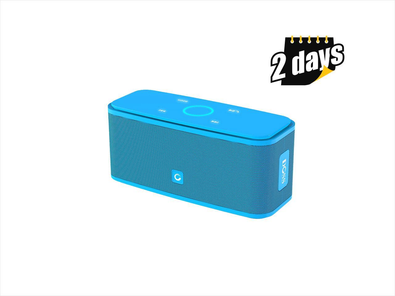 DOSS SoundBox Bluetooth Speaker, Portable Wireless Bluetooth 4.0 Touch Speakers with 12W HD Sound and Bold Bass, Handsfree, 12H playtime for Echo Dot, iPhone, iPad, Samsung, tablet, Gift ideas[Blue]