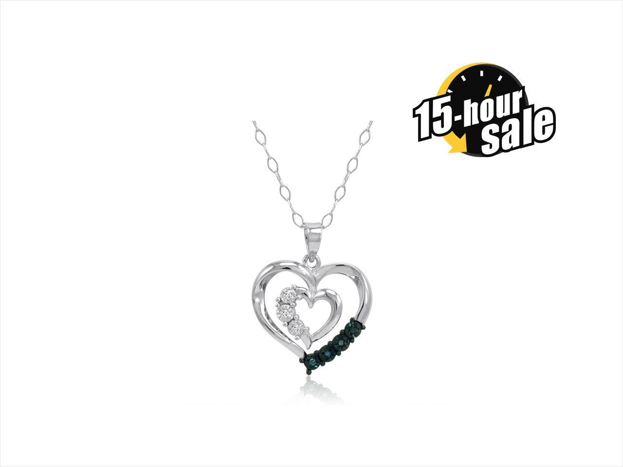 Blue and White Diamond Heart Pendant-Necklace in Sterling Silver