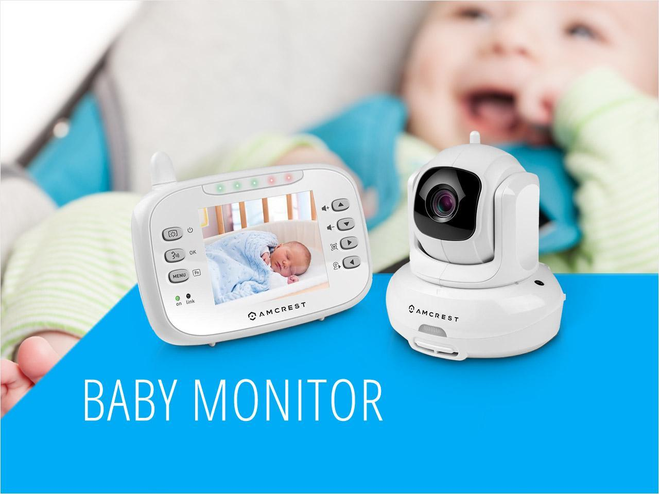 amcrest ac 1 video baby monitor with pan tilt non visible night vision temperature sensor two. Black Bedroom Furniture Sets. Home Design Ideas