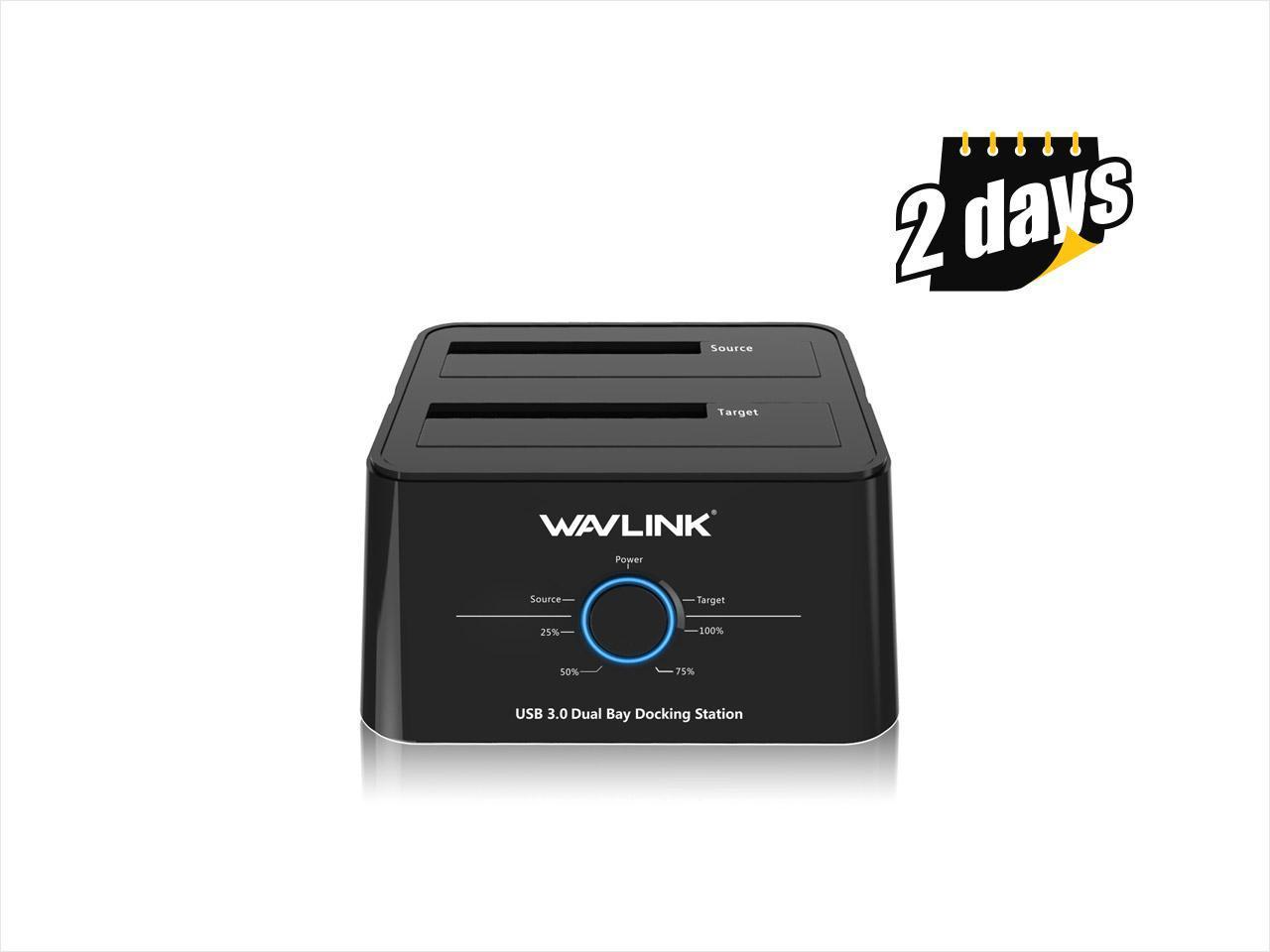 "Wavlink WL-ST334U B12TB Universal USB 3.0 Dual Bay Dock 2.5"" 3.5"" SATA HDD/SSD Storage Docking Station Hard Drive Enclosure, 5Gbps Transmission Rates Offline Clone and One Button Backup - Black"