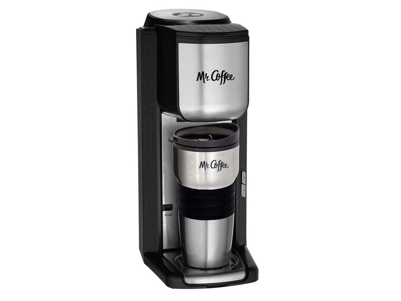 Mr. Coffee Single Cup Coffeemaker with Built-in Grinder, with Travel Mug Included BVMC-SCGB200