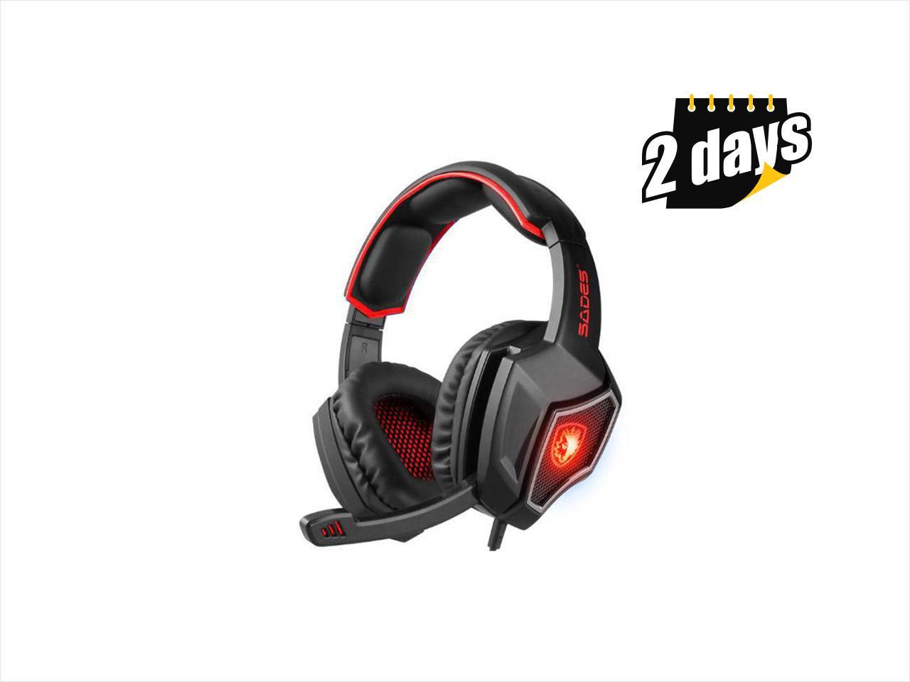 ac4d35be3ad SADES Spirit Wolf 7.1 Surround Sound Stereo USB Gaming Headset with  Mic,Over-the ...