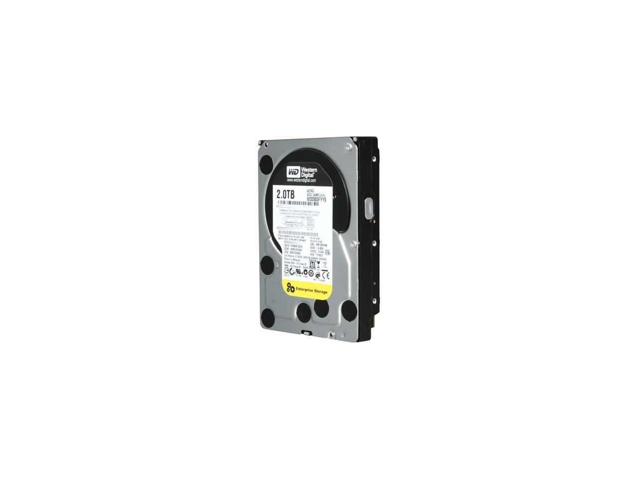 "Refurbished: WD Grade A WD2003FYYS 2TB 3.5"" HDD SATA 3.0Gb/s RE4 7200 RPM  Internal Hard Drive 1 Year Warranty"