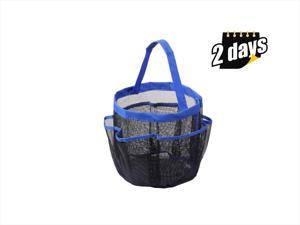 8 Pocket Shower Caddy Tote Portable Quick Dry Makeup Bag Blue for Gym Pool Travel