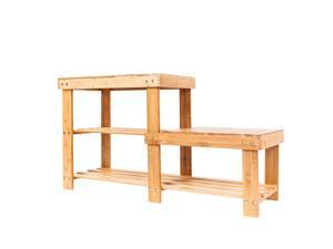 Bamboo Shoe Adult/Kid  Stool Shelf Storage 2 Tier Rack Organizer Holder Shelves