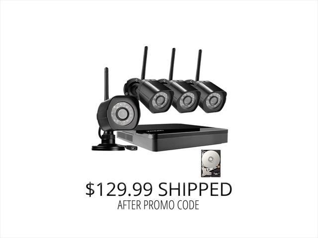 Zmodo HD Wireless Surveillance System 4 Channel NVR with 1TB HDD 4 HD 720p Outdoor Home Security Cameras