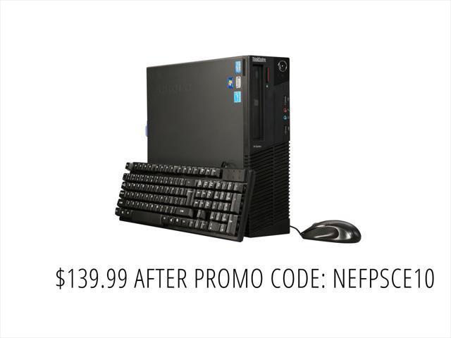 Refurbished: Lenovo A Grade Desktop Computer M82 - SFF Intel Core i5 3rd Gen 3.2 GHz 4 GB DDR3 250 GB HDD Windows 10 Pro 64-Bit