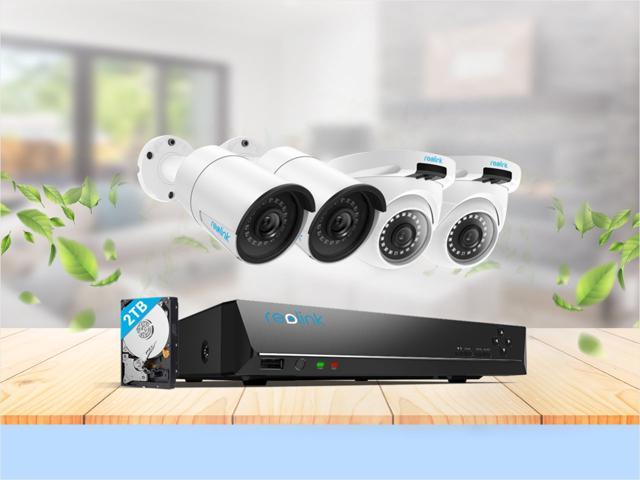 Reolink 5MP 8CH PoE Video Surveillance System, 2 x Bullet & 2 x Dome Wired Outdoor PoE IP Cameras, 5MP/4MP Supported 8 Channel NVR Security System w/ 2TB HDD for 7/24 Recording RLK8-410B2D2-5M
