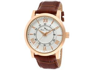 Lucien Piccard 11577-RG-02S Stockhorn Brown Genuine Leather Silver Tone Dial / Rose Tone Case Men's Watch