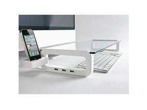 Eutuxia Type-U Multi-Function Universal Monitor Laptop Multimedia Stand with Built-in 3 Ports USB 2.0 - White