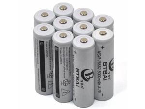 LEMAI 10 Pieces 5000mAh 3.7V 18650 NCR Rechargeable Li-ion Battery Pack Cell for Ultrafire TrustFire CREE XM-L T6 LED Flashlight