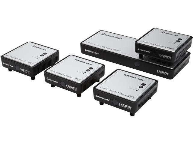 IOGEAR GWHDMS52MBK4 Long Range Wireless 5x2 HDMI Matrix PRO with 3 Additional Receivers