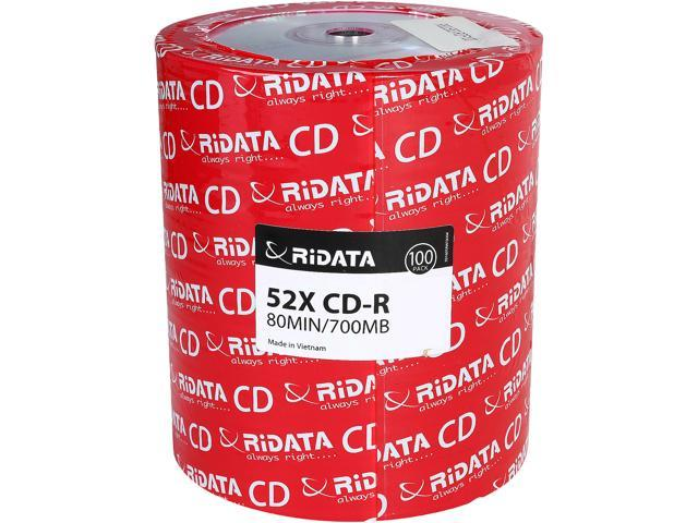 RiDATA 700 MB 52X CD-R 100 Packs Disc Model R80JS52-RDF100