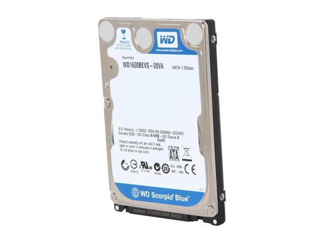 "Refurbished: WD Scorpio Blue WD1600BEVS 160GB 5400 RPM 8MB Cache SATA 1.5Gb/s 2.5"" Internal Notebook Hard Drive Bare Drive"