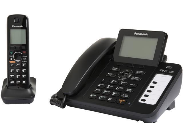Refurbished: Panasonic RBKX-TG6671B DECT 6.0 Corded/Cordless Phone with Digital Answering System, Black