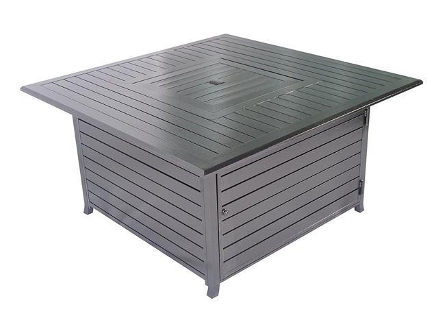 Legacy Heating 45-inch Square Fire Table, all Aluminum Construction with Stainless Steel Burner and Table lid CDFP-S-CA