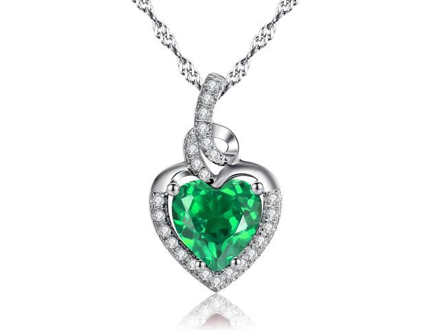 "Mabella 2.0cttw Heart Shaped 8mm x 8mm Created Emerald Pendant in Sterling Silver with 18"" Chain"