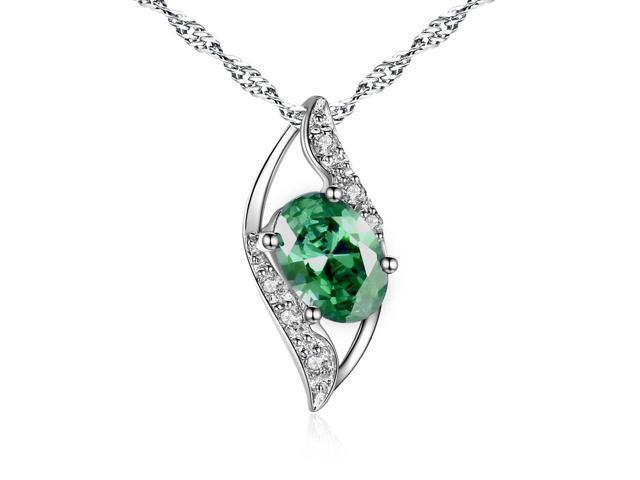 """Mabella 0.78 Cttw Oval Cut 7mm*5mm Created Emerald Pendant Sterling Silver with 18"""" Chain"""