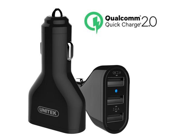 UNITEK Quick Charge 2.0 42W 3-Port USB QC 2.0 Car Charger Adapter + Micro USB Cable