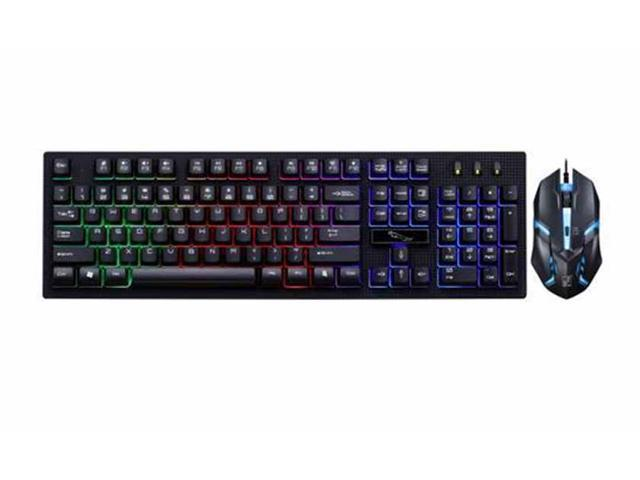 CORN Professional Gaming Keyboard and Mouse Combo Wired Multimedia Mechanical Feeling Multi-color LED Suspension Keys - Black