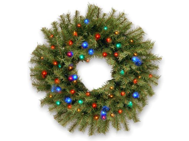 "24"" Norwood Fir Wreath with Battery Operated Multicolor LED Lights"