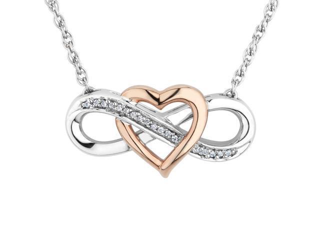 5d36dbc879 REEDS Jewelers Two-Tone Interlocking Heart Infinity Pendant 1/15ctw ...