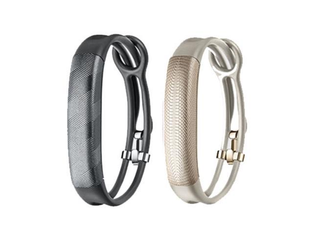 Jawbone UP2 His & Her Lightweight Strap Fitness Trackers for Smartphones - 2 Pack - Gray & Oat