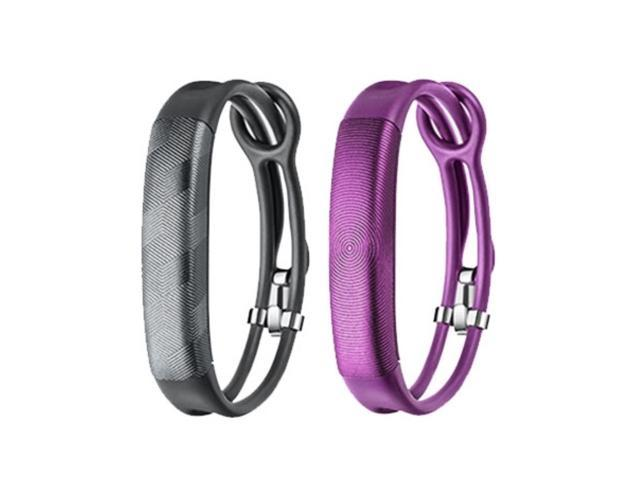Jawbone UP2 His & Her Lightweight Strap Fitness Trackers for Smartphones - 2 Pack - Gray & Purple