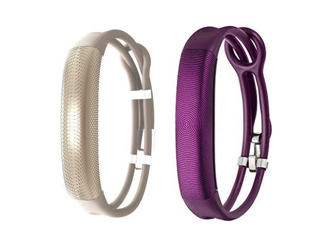 Jawbone UP2 His & Her Lightweight Strap Fitness Trackers for Smartphones - 2 Pack - Purple & Oat