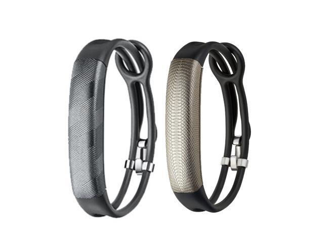 Jawbone UP2 His & Her Lightweight Strap Fitness Trackers for Smartphones - 2 Pack - Gray & Black Gold
