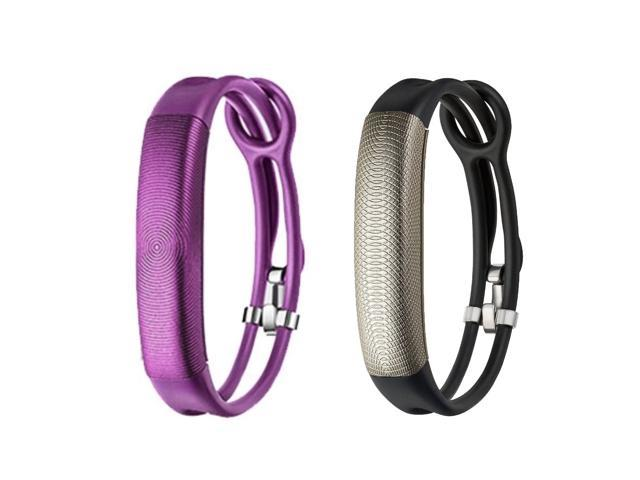 Jawbone UP2 His & Her Lightweight Strap Fitness Trackers for Smartphones - 2 Pack - Purple & Black Gold