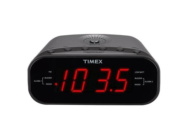 Refurbished: Timex T231GY AM/FM Dual Alarm Clock Radio with 1.2-Inch Green Display and Line-In Jack (Gunmetal) - OEM