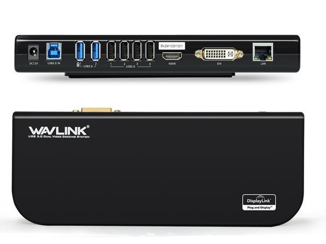 Wavlink USB HD Display Series Docking Station Dual Video HDMI/DVI or VGA , USB 2.0 & USB 3.0, Gigabit Ethernet Ports - Horizontal Design Hot Plug and Play For Windows Mac & Android 5.x Above - Black
