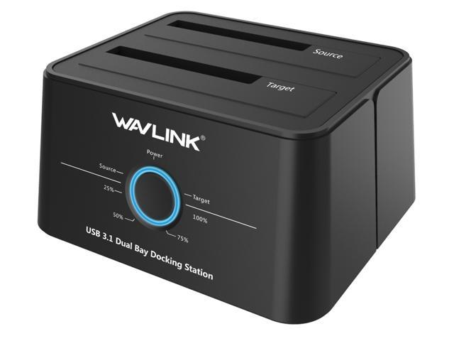 """Wavlink USB 3.1 Dual Bay 12TB HDD/SSD Docking Station w/ 5Gbps USB-C Cable for All SATA 2.5"""" 3.5"""" Hard Disk Offline Clone + One Button Backup Multitask External Storage Enclosure - Duplicator Dock"""
