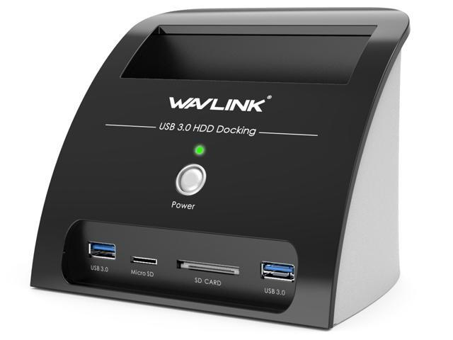 Hard Drive Docking Station with Card Reader and 2 Port USB 3.0 Hub, Wavlink USB 3.0 to SATA Hard Drive External Enclosure, For 2.5/3.5 inch HDD/SSD SATA I/II/III, One Touch Backup/UASP/SD & Micro SD
