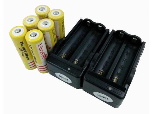 LEMAI® (YELLOW Ultrafire 6 Pieces) 5000mAh 3.7V 18650 NCR Rechargeable Li-ion Battery Pack Cell + 2X Charger For Ultrafire TrustFire CREE XM-L T6 LED Flashlight Flash Light Torch