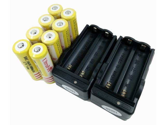 LEMAI® (YELLOW Ultrafire 8 Pieces) 5000mAh 3.7V 18650 NCR Rechargeable Li-ion Battery Pack Cell + 2X Charger For Ultrafire TrustFire CREE XM-L T6 LED Flashlight Flash Light Torch