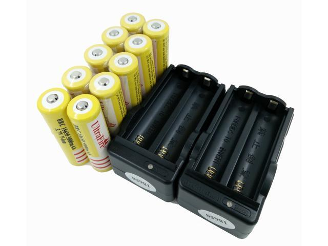 LEMAI® (YELLOW Ultrafire 10 Pieces) 5000mAh 3.7V 18650 NCR Rechargeable Li-ion Battery Pack Cell + 2X Charger For Ultrafire TrustFire CREE XM-L T6 LED Flashlight Flash Light Torch