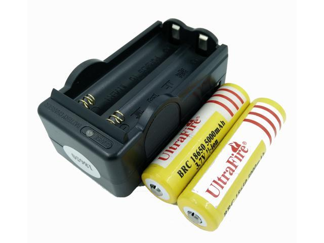 LEMAI® (YELLOW Ultrafire 2 Pieces) 5000mAh 3.7V 18650 NCR Rechargeable Li-ion Battery Pack Cell + 1X Charger For Ultrafire TrustFire CREE XM-L T6 LED Flashlight Flash Light Torch