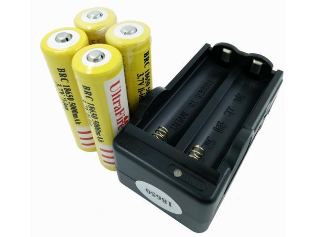 LEMAI® (YELLOW Ultrafire 4 Pieces) 5000mAh 3.7V 18650 NCR Rechargeable Li-ion Battery Pack Cell + 1X Charger For Ultrafire TrustFire CREE XM-L T6 LED Flashlight Flash Light Torch