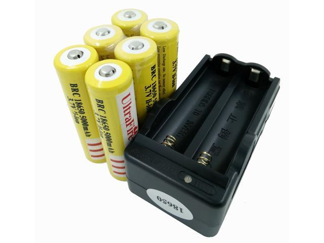 LEMAI® (YELLOW Ultrafire 6 Pieces) 5000mAh 3.7V 18650 NCR Rechargeable Li-ion Battery Pack Cell + 1X Charger For Ultrafire TrustFire CREE XM-L T6 LED Flashlight Flash Light Torch