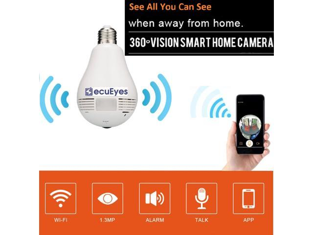 SecuEyes LED Bulb Camera 360 Degree FishEye Security Panoramic Camera Home Security System For IOS/Android