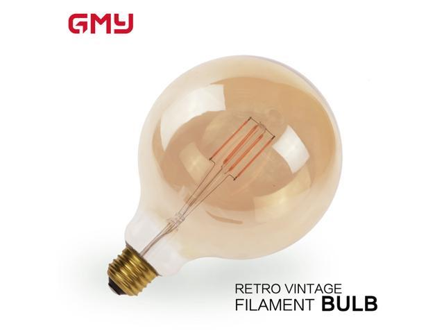 Globe  G40 3.5W LED Light Bulb Vintage Edison Style LED  Filament Light Bulb Medium E26 Base 25W Equivalent Decorative Amber Glass LED Bulb 2200K Warm White