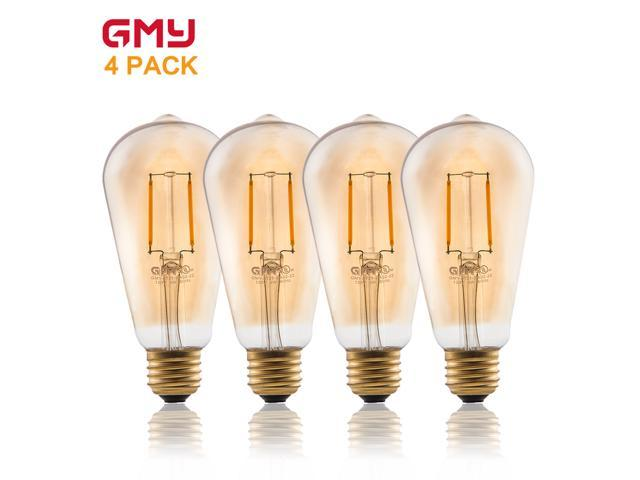 Vintage Edison LED Bulb ST21 2W Dimmable LED Light Bulb AC120V Amber Glass Decorative LED Filament Bulb 2200K Warm White (4 PACK)