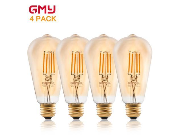 Edison Vintage Style Dimmable - 3.5W ST19 LED Filament Light Bulb 2200K Warm White (4 PACK)
