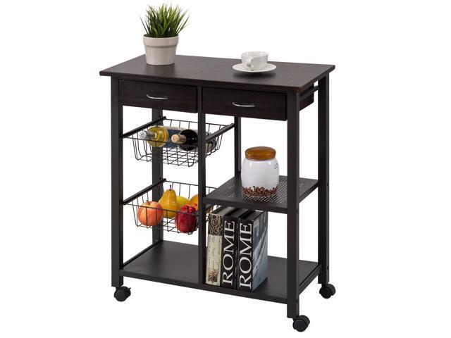 Rolling Kitchen Trolley Cart Storage Island Utility Dining w/Drawer Basket Shelf